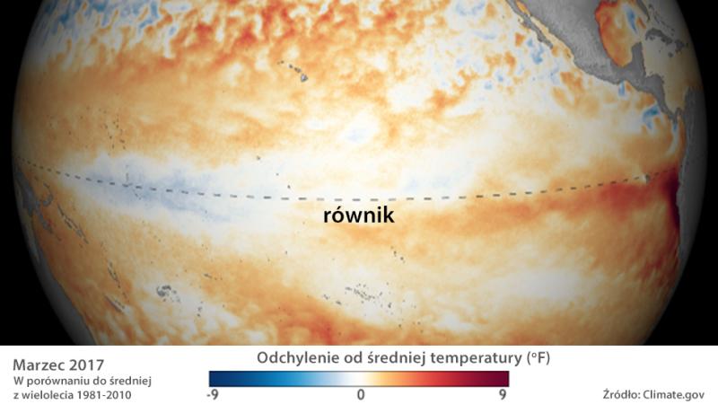 Odchylenie od średniej temperatury powierzchni Oceanu Spokojnego w marcu 2017
