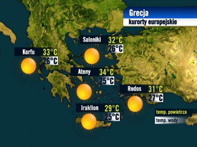 Prognoza pogody dla kurortów w Grecji, 24.08