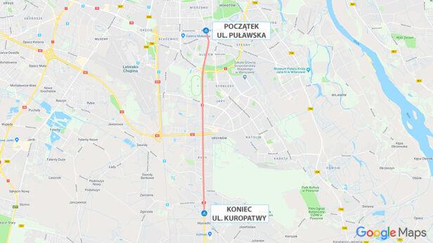 Przebieg ścieżki rowerowej Google Maps
