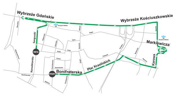 Trasa biegu na 5 kilometrów mat.prasowe