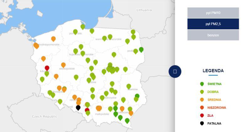 Stężenie pyłu PM2,5 o godzinie 9 (tvnmeteo.pl za GIOŚ)