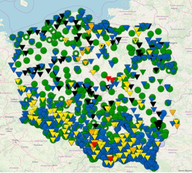 Stan rzek w Polsce o godzinie 6.30 (monitor.pogodynka.pl/IMGW)