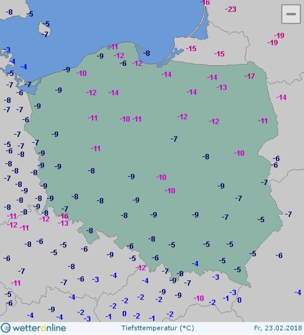 Temperatura minimalna w piątek (wetteronline.de)