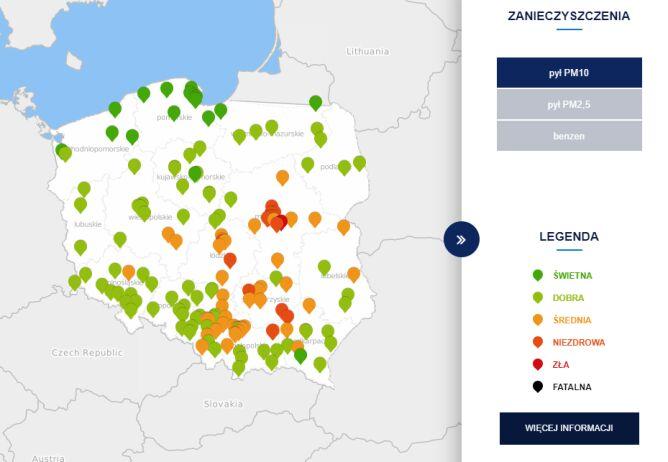 Stężenie pyłu PM10 o godz. 11 (tvnmeteo.pl za GIOŚ)