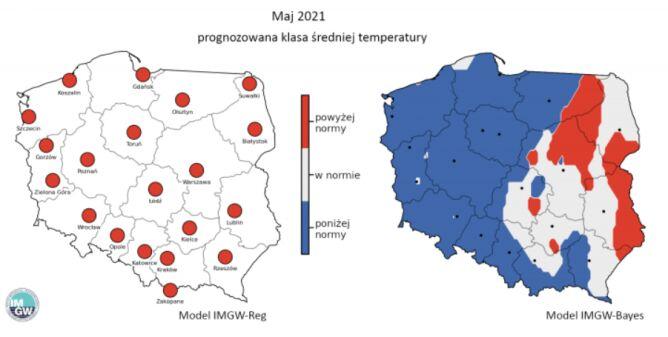 Prognozowana klasa średniej miesięcznej temperatury powietrza w maju 2021 r. według modelu IMGW-Reg i IMGW-Bayes (źródło: IMGW)