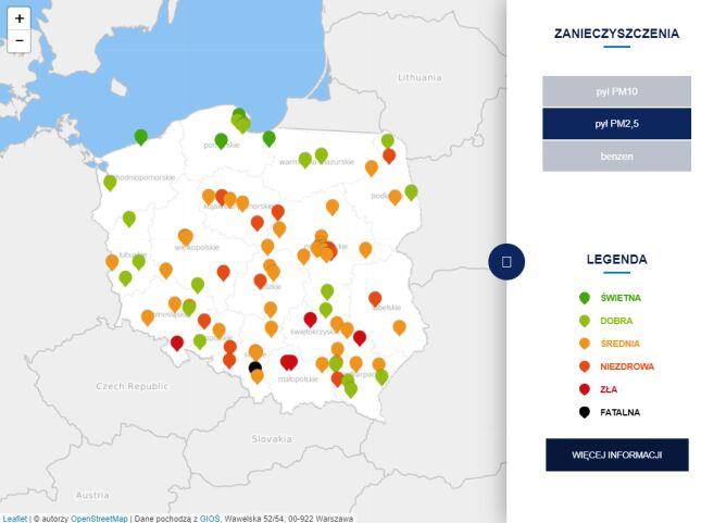 Stężenie pyłu PM2,5 o godzinie 7.30 (tvnmeteo.pl za GIOŚ)