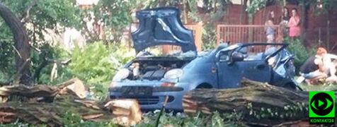 Drzewo przygniotło samochód, nie żyje kobieta