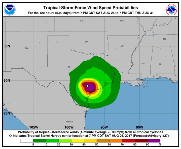 Prognozowana prędkość wiatru w burzy Harvey (NHC/NOAA)