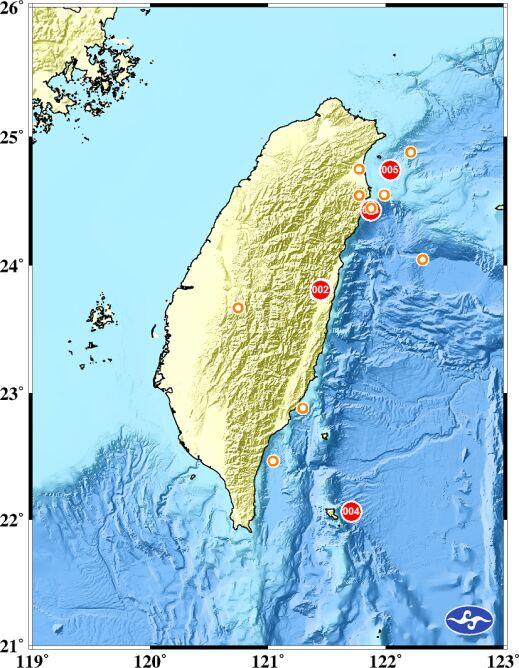 Trzęsieni ziemi u wybrzeży Tajwanu (Central Weather Bureau)