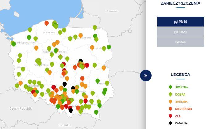 Poziom stężenia pyłu PM10 (tvnmeteo.pl za GIOŚ)