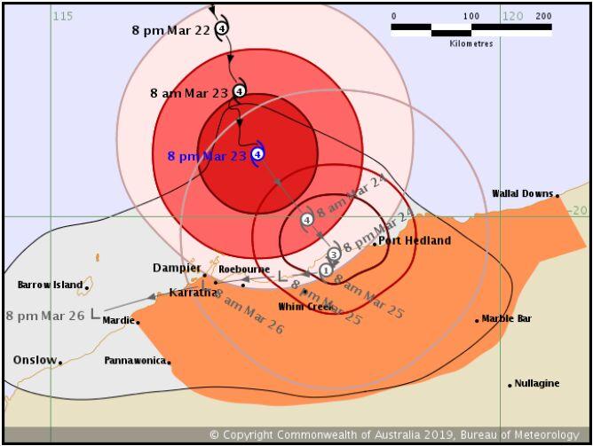 Prognozowana trasa cyklonu tropikalnego Veronica (bom.gov.au)