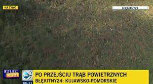 Zniszczenia w kujawsko-pomorskim widziane z Błękitnego 24 (TVN24)