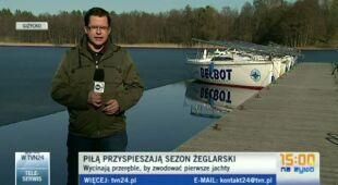 Wycinanie lodu na jeziorach (TVN24)